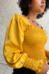 Toni Top Long Sleeve - Marigold Satin