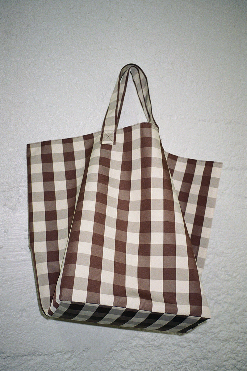 Large Gingham Grocery Tote - Brown & Cream