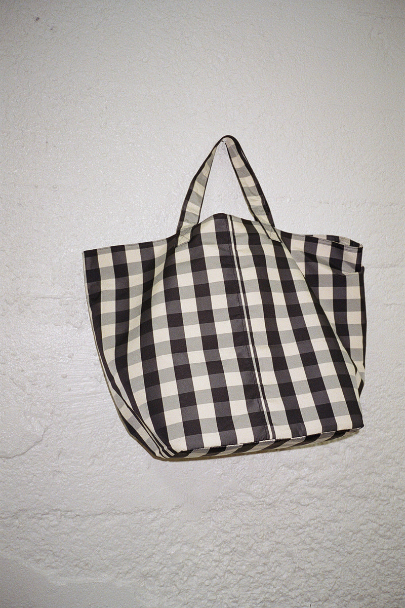 Large Gingham Grocery Tote - Black & Cream