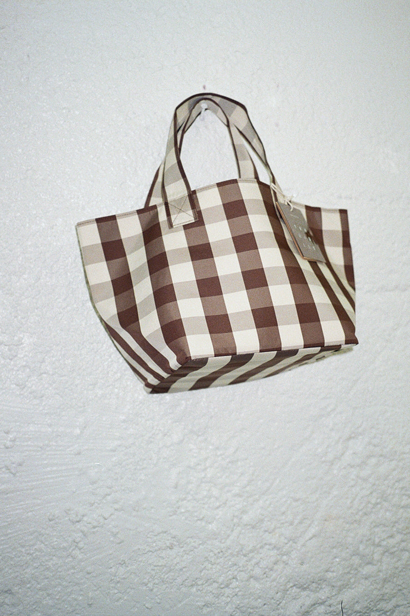 Small Gingham Grocery Tote - Brown & Cream