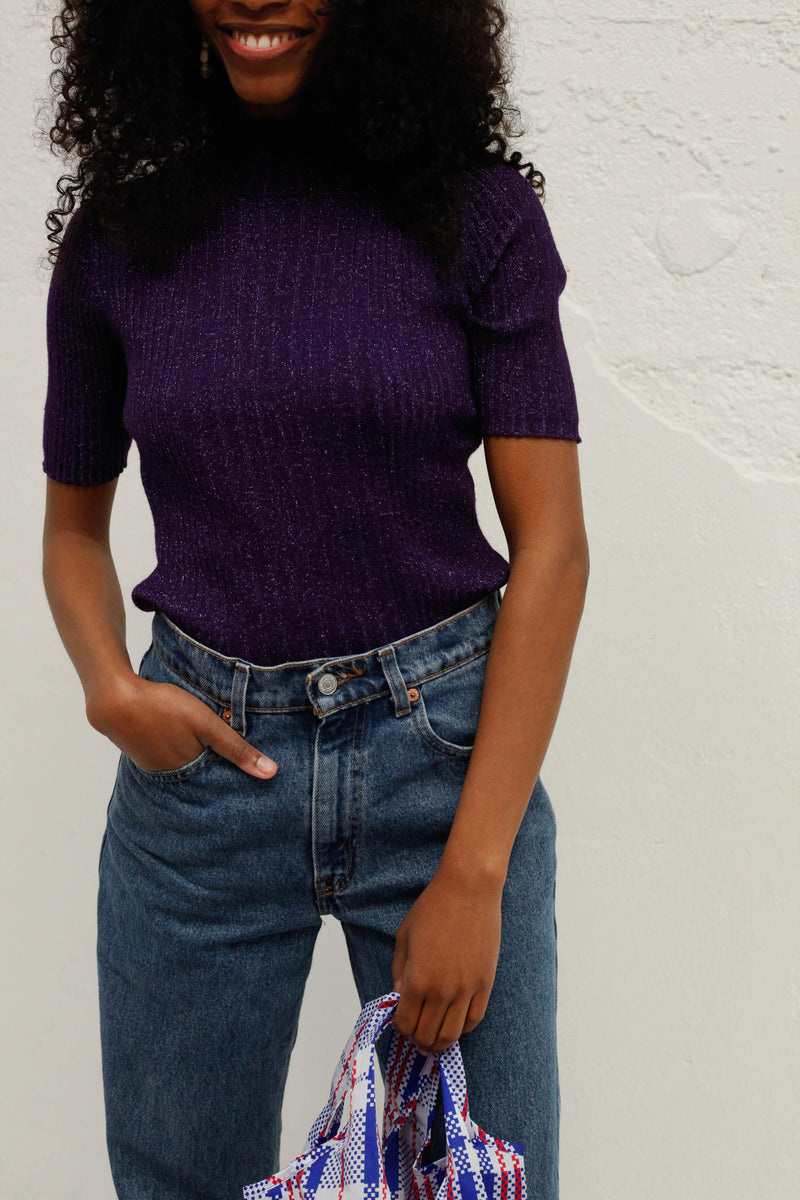 Vintage Glitter Mock Knit - Purple