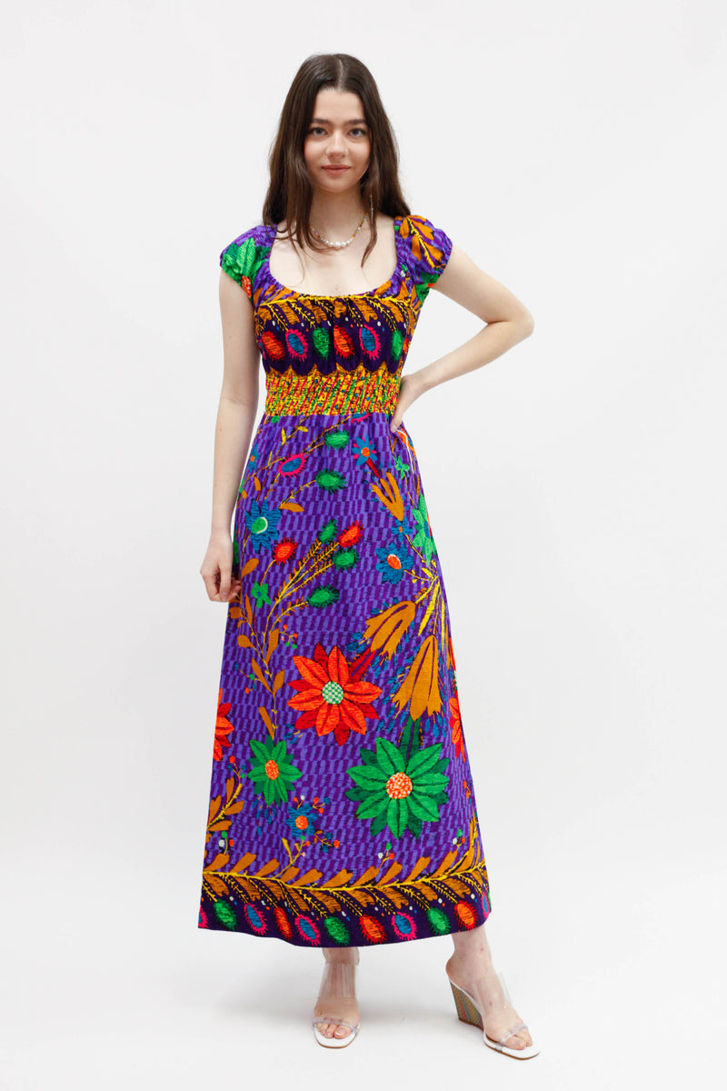 Vintage Maxi Floral Dress - Purple