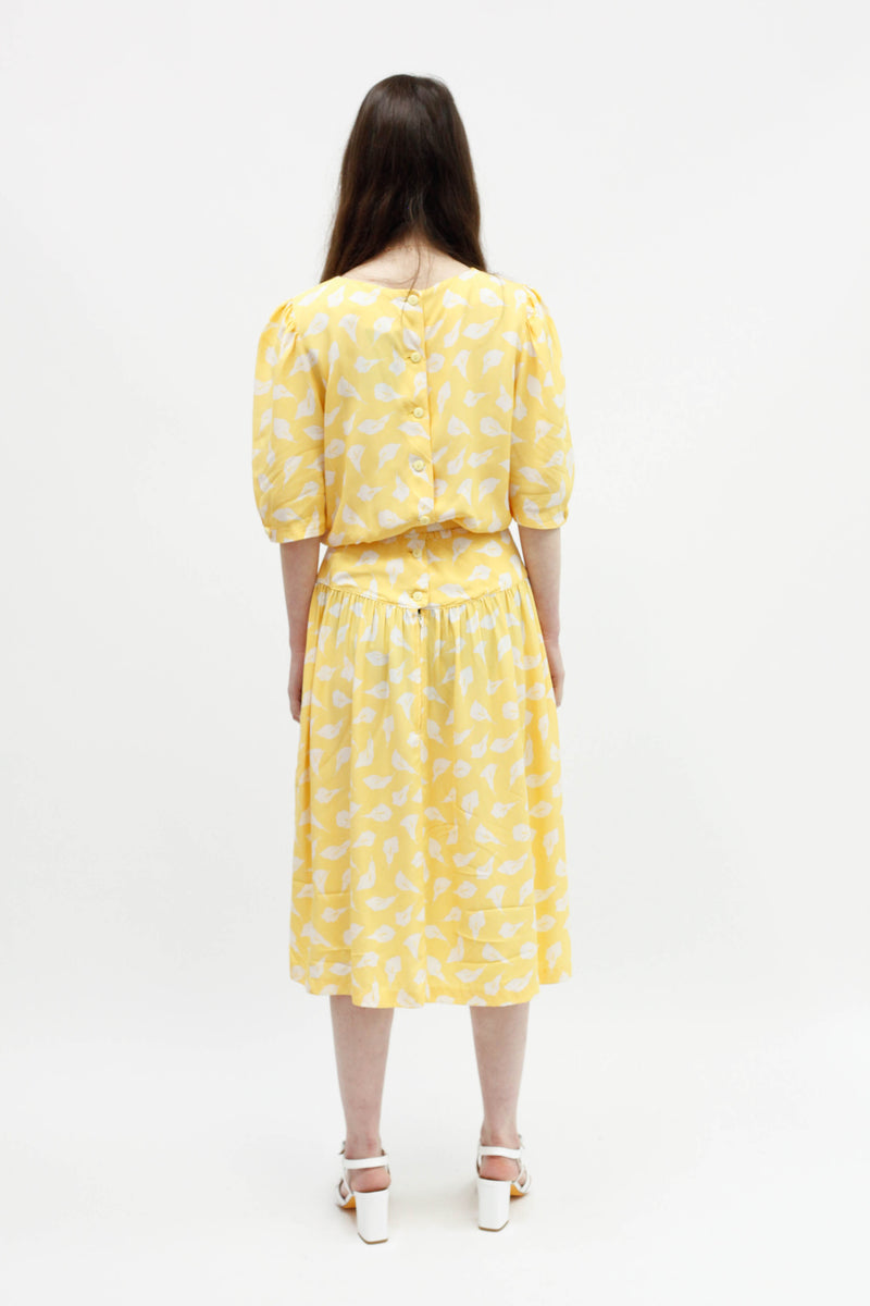 Vintage Belted Dress - Yellow