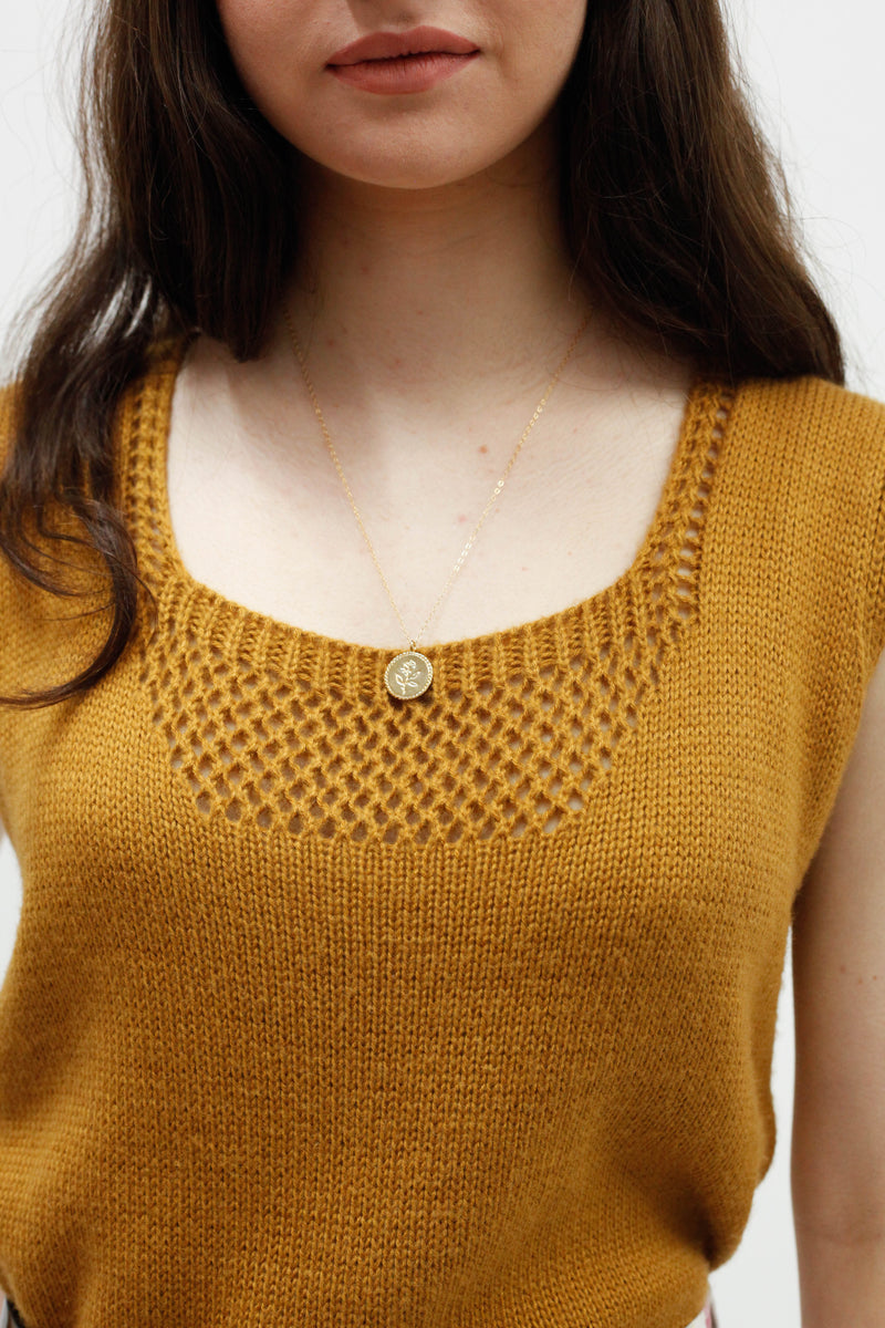 Vintage Sleeveless Knit Top - Caramel
