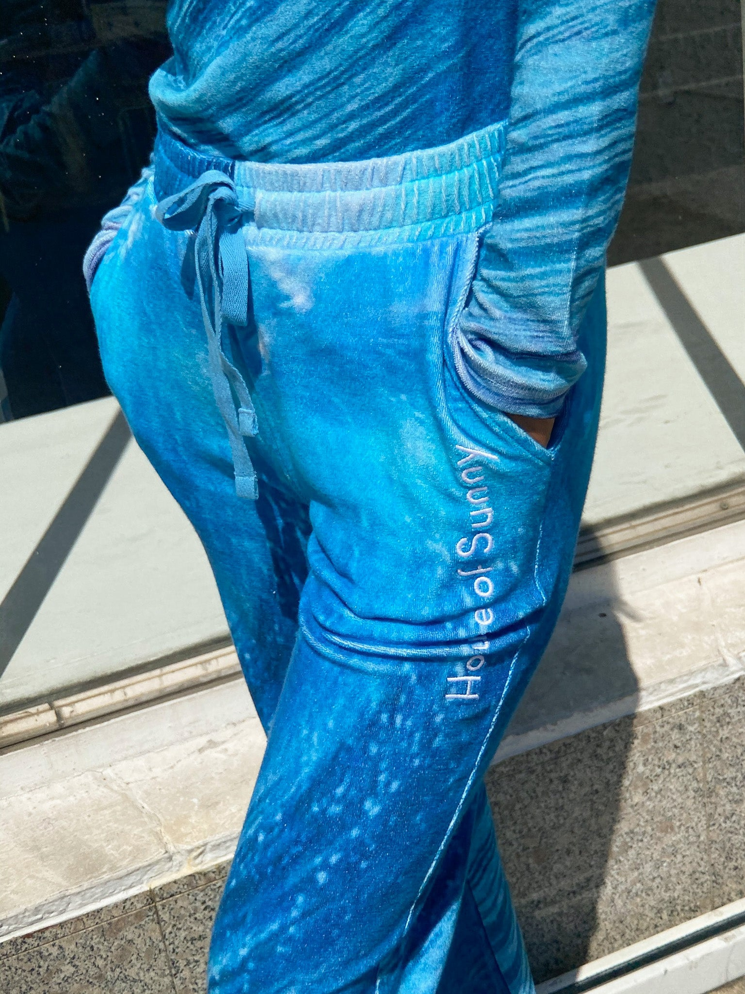 Wave Toweling Pants - Wave Print