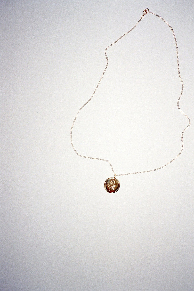 Rose Coin Necklace - Gold
