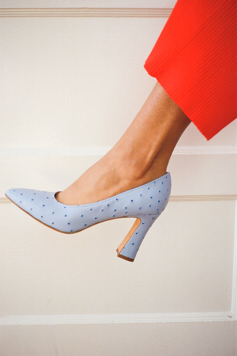 Isa Pump - Blue Faux Ostrich
