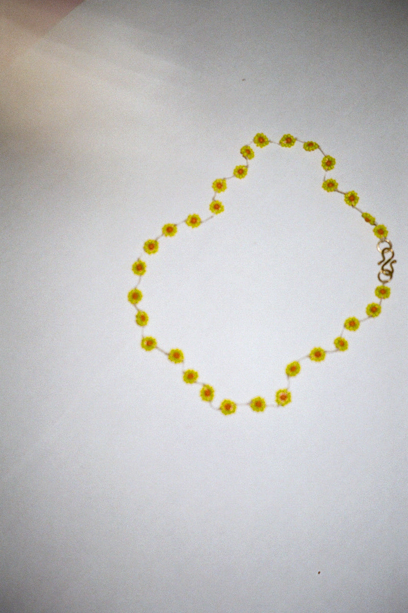 Yellow Beaded Flower Necklace