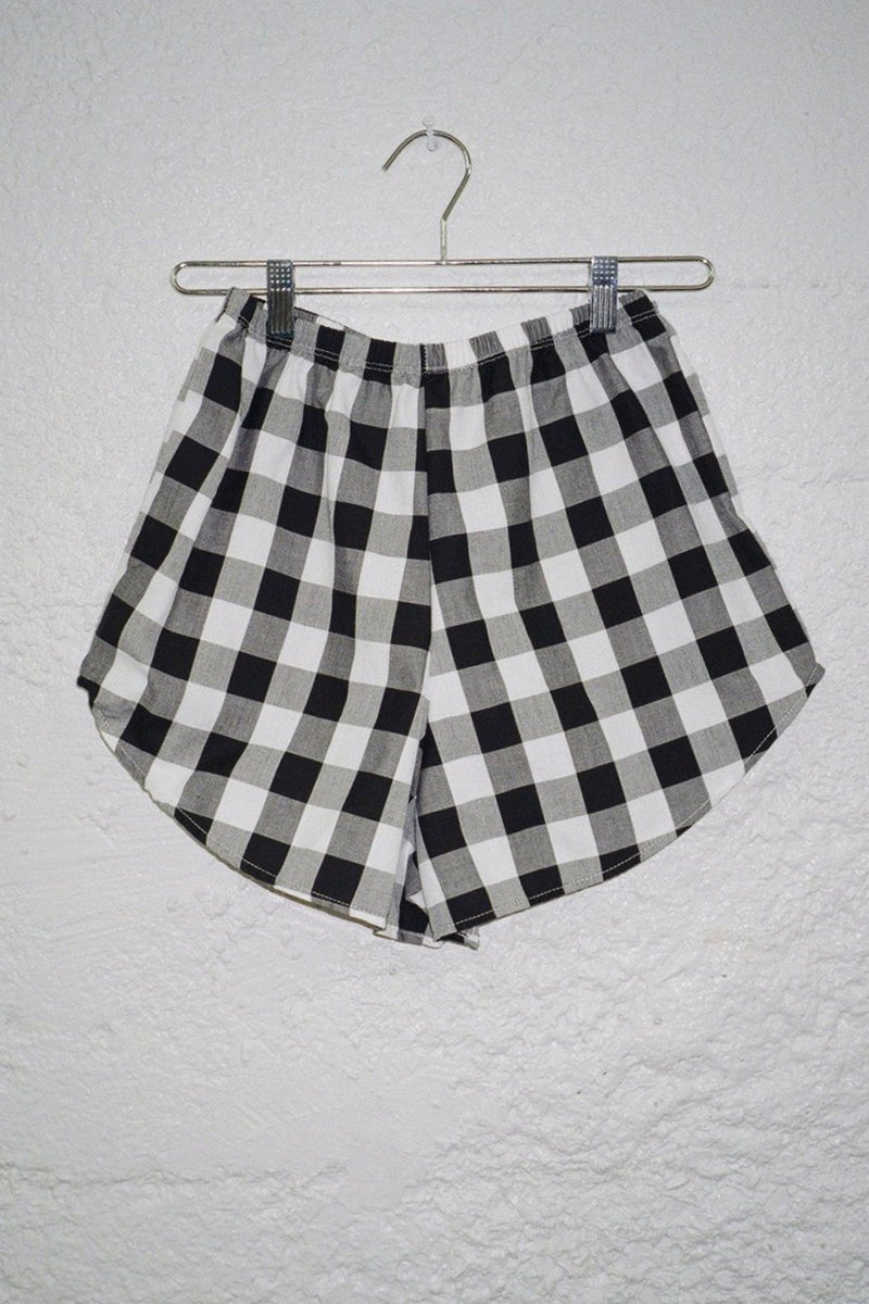 Capri Linen Short - Black and White Gingham