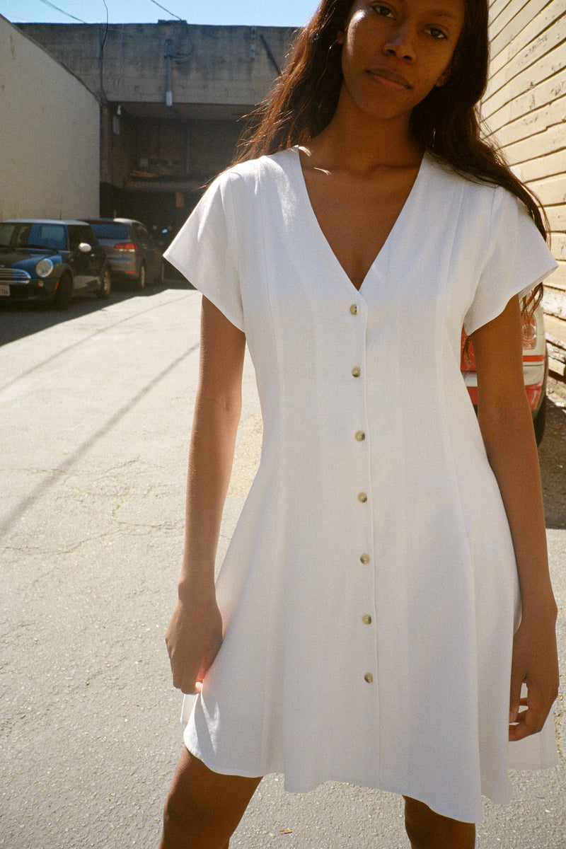 Milla Linen Dress - White