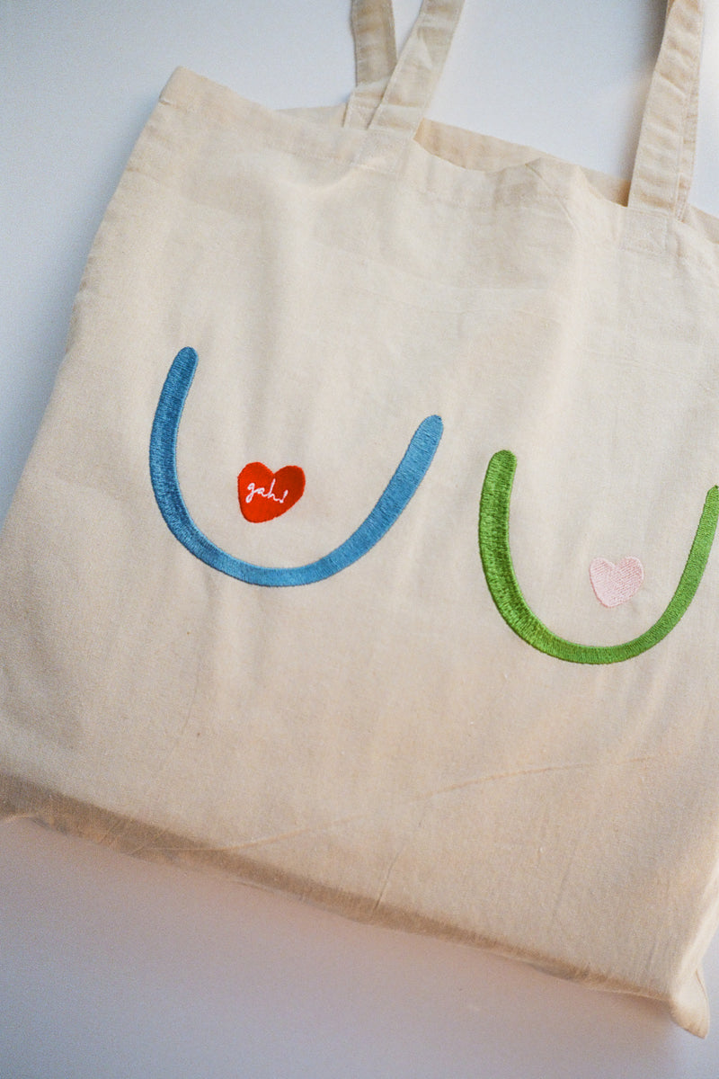 Embroidered Boobs! Tote