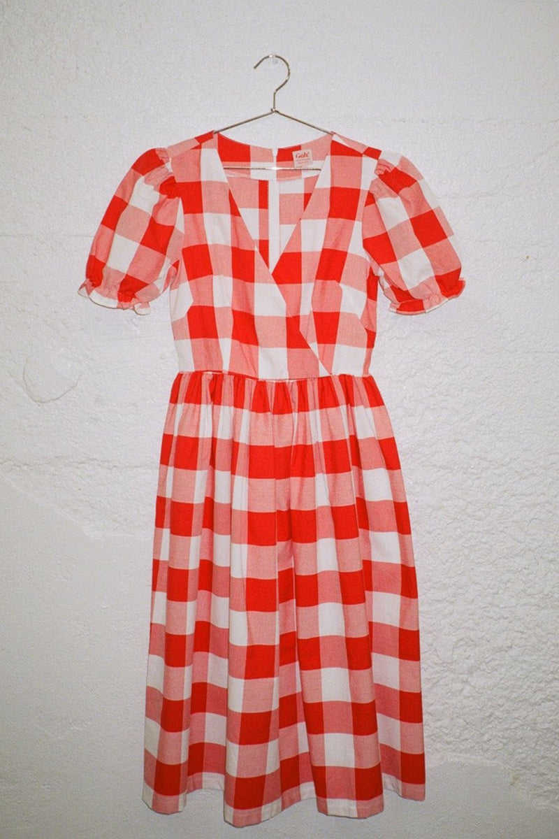 Topanga Midi Dress - Red and White Gingham