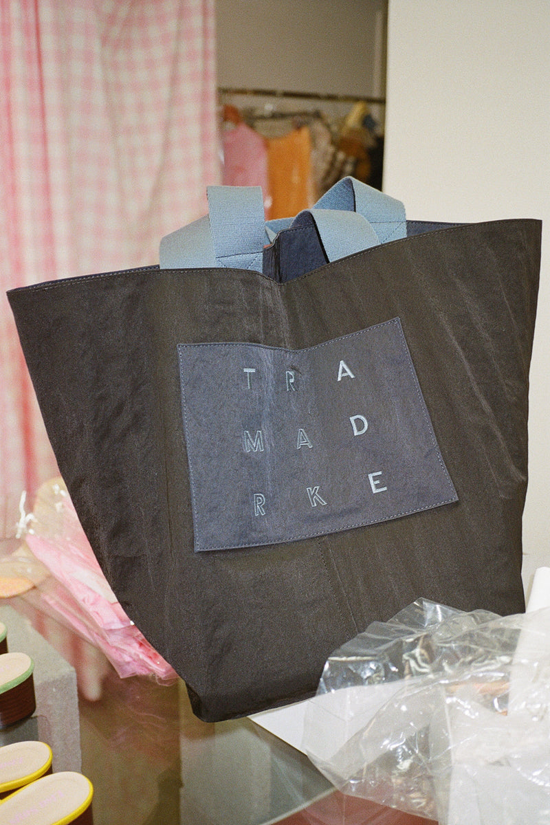 Large Reversible Nylon Tote - Navy & Black