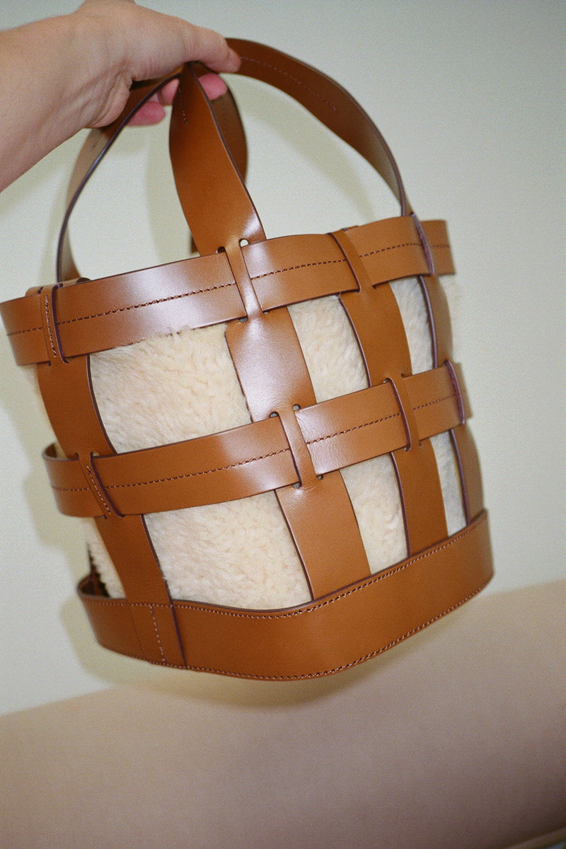 Cooper Cage Tote - Saddle w/ Cream Shearling