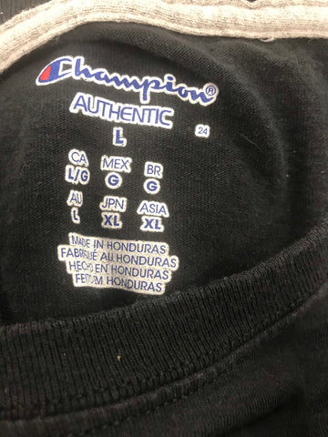 Worn not wasted over printed Champion Long sleeve Tee