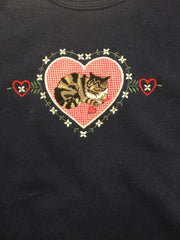 Vintage Embroidered Hearts & Kittens  Pullover