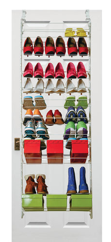 MS228  Customizable Over Door Shoe Rack w/Screw Tight On Over Door Hooks™ - - Designed in USA/Made in China