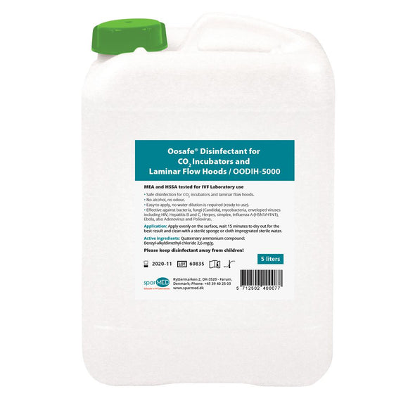 Oosafe® Laboratory Disinfectant For CO2 Incubators and Laminar Flow Hoods 5L Refill - IVFSynergy