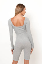 Feel The Knit Romper - Gray