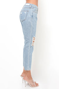 Cat Call Low Rise Jeans - Light Wash