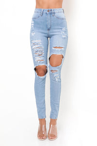 Katy Distressed Jeans - Light Wash