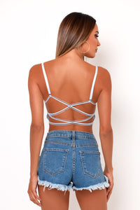 Malia Bralette Crop Top - Baby Blue