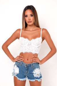 Malia Bralette Crop Top - White