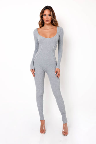 Feel The Knit Jumpsuit - Gray