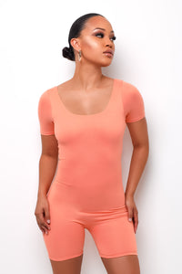 Simple Life Romper - Peach