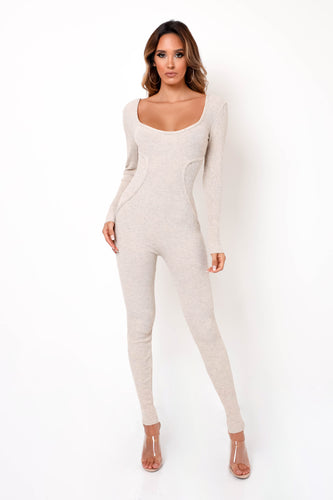 Feel The Knit Jumpsuit - Cream
