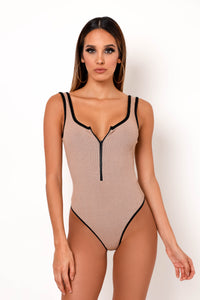 Give Me Chills Bodysuit - Tan