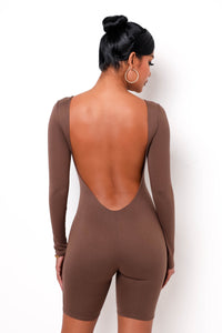 Hold Me Back Romper - Brown