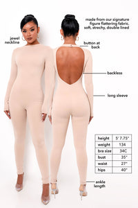 Gia Backless Jumpsuit - Nude