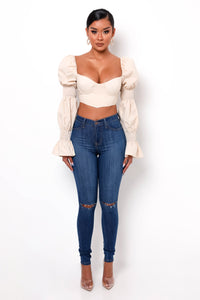 Frida Crop Top - Nude