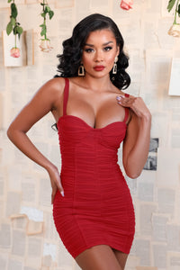 Tiffany Bandage Mini Dress - Red