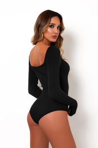 Knit Me Together Bodysuit - Black