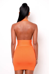 Hourglass Bandage Mini Dress - Orange