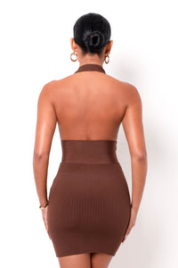 Hourglass Bandage Mini Dress - Brown