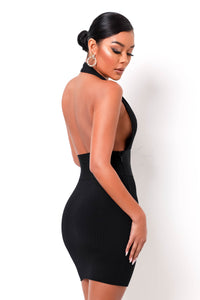 Hourglass Bandage Mini Dress - Black