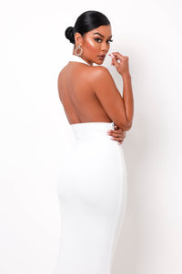 Hourglass Bandage Maxi Dress - White
