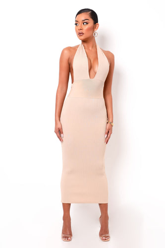 Hourglass Bandage Maxi Dress - Nude