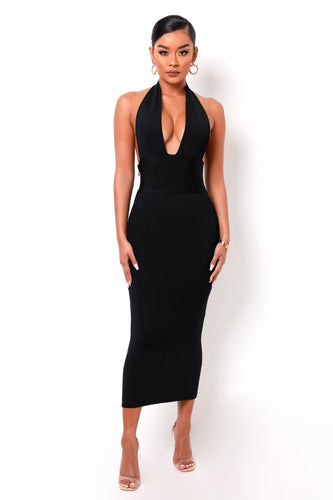 Hourglass Bandage Maxi Dress - Black