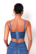 Eyes Up Here Denim Crop Top - Medium Wash