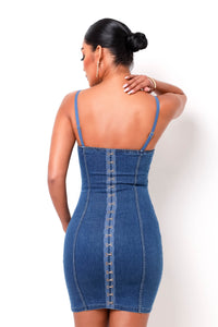 Iconic Denim Mini Dress - Medium Wash