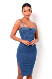Iconic Denim Midi Dress - Medium Wash