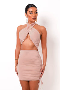 Penelope Mini Dress - Nude