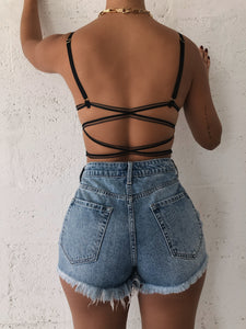 Malia Bralette Crop Top - Black