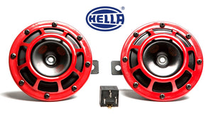 Hella - Supertone Horn Kit 12V 300/500HZ - Pair of 2 - RED - UNIVERSAL - 003399801