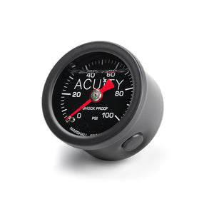 ACUiTY Instruments - ACUiTY 100 PSI Fuel Pressure Gauge in Satin Black Finish - 1941-BLK