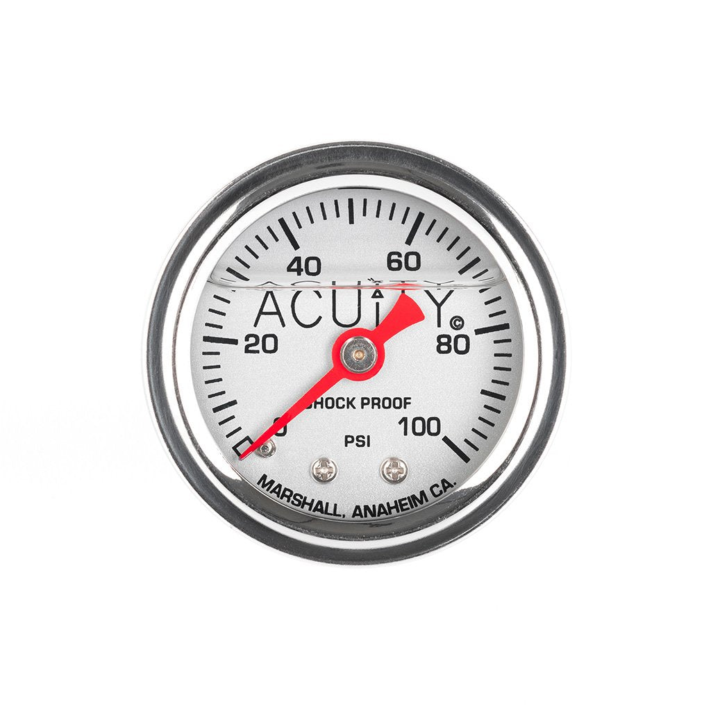 ACUiTY Instruments - ACUiTY 100 PSI Fuel Pressure Gauge in Polished Stainless Finish - 1941-SLV